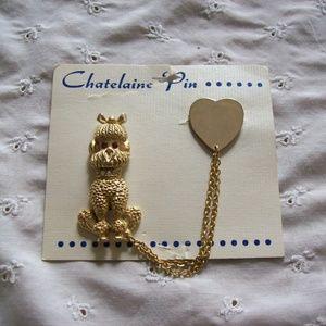 Vintage Gold Tone Poodle/Heart Chatelaine Brooch